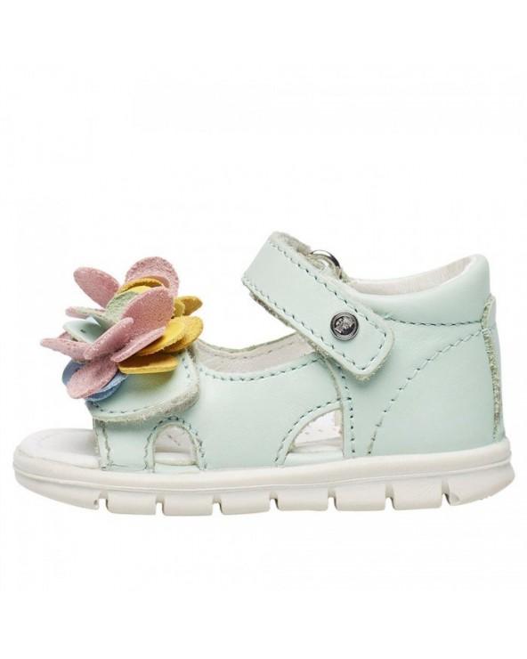 Sandalo con fiori applicati